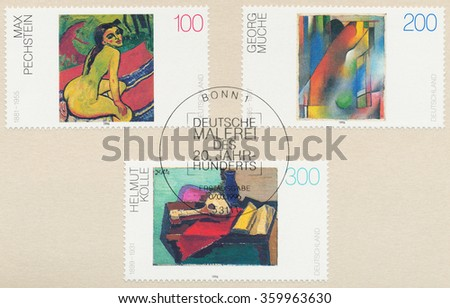 GERMANY - CIRCA 1996: A postmark printed in Bonn, shows Sitting Female by Max Pechstein, Abstract For Wilhelm Runge by Georg Muche, Still Life with Guitar, Book and Vase by Helmut Kolle, circa 1996