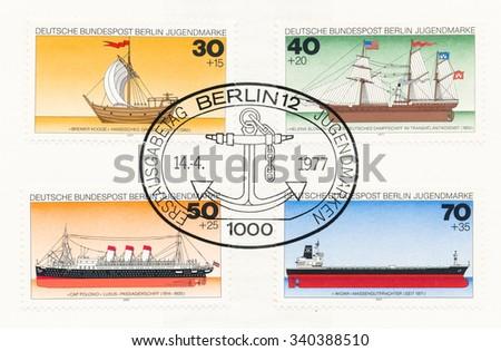 GERMANY - CIRCA 1977: A postmark printed in Germany, shows Historic Ships: Bremer Kogge c.1380, Helena Sloman 1850, Passenger ship, Cap Polonio 1914, Freighter Widar 1971, circa 1977 - stock photo
