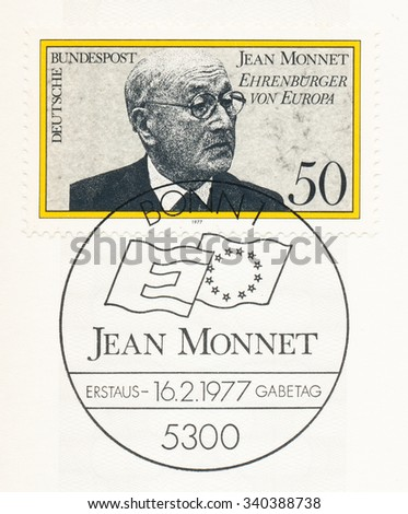 GERMANY - CIRCA 1977: A postmark printed in Germany, shows Jean Monnet (1888-1979), French proponent of unification of Europe, became first Honorary Citizen of Europe in Apr. 1976, circa 1977 - stock photo