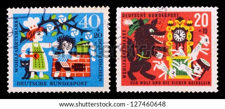 GERMANY - CIRCA 1964: A set of postage stamps printed in GERMANY shows German fairy tales, series, circa 1964