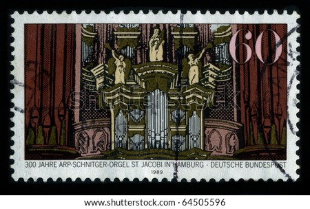 GERMANY-CIRCA 1989:A stamp dedicated to the Arp Schnitger organ in St. Jacobi Church, Hamburg, is a world-famous monument of North-German organ building, circa 1989.