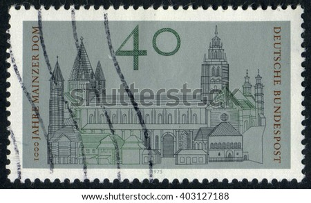 GERMANY - CIRCA 1975: A stamp printed by Germany, shows Cathedral, Europe, city, circa 1975 - stock photo
