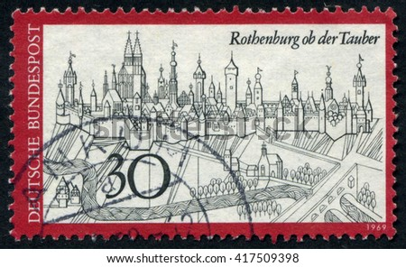 GERMANY - CIRCA 1969: A stamp printed by Germany, shows city, Europe, medieval city, circa 1969 - stock photo