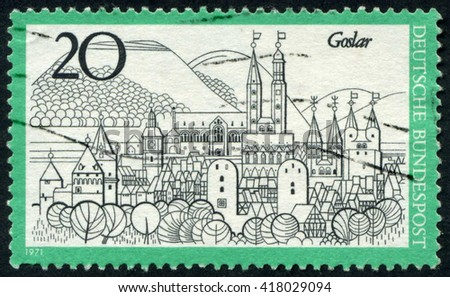 GERMANY - CIRCA 1971: A stamp printed by Germany, shows city, Europe, medieval city, circa 1971 - stock photo