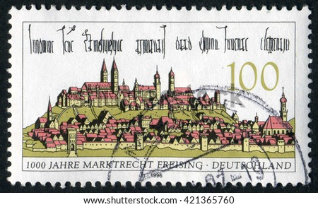 GERMANY - CIRCA 1996: A stamp printed by Germany, shows city, Europe, medieval city, circa 1996 - stock photo