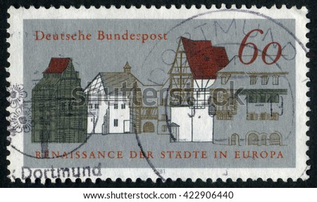 GERMANY - CIRCA 1981: A stamp printed by Germany, shows city, Europe, medieval city, circa 1981 - stock photo