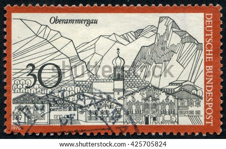 GERMANY - CIRCA 1970: A stamp printed by Germany, shows city, Europe, medieval city, circa 1970 - stock photo