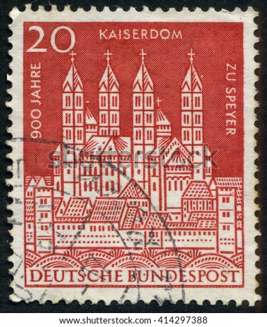 GERMANY - CIRCA 1966: A stamp printed by Germany, shows city, Europe, medieval Gothic Cathedral, circa 1966 - stock photo