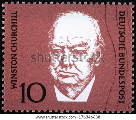 GERMANY - CIRCA 1968: A stamp printed by GERMANY shows image portrait of famous British statesman, Prime Minister of the United Kingdom Sir Winston Churchill, circa 1968 - stock photo