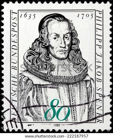 GERMANY - CIRCA 1985: A stamp printed by GERMANY shows image portrait of German Christian theologian Philipp Jakob Spener known as the Father of Pietism, circa 1985.