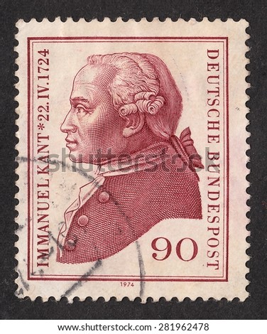 GERMANY - CIRCA 1974: A stamp printed by Germany, shows Immanuel Kant-German philosopher, founder of German classical philosophy, circa 1974