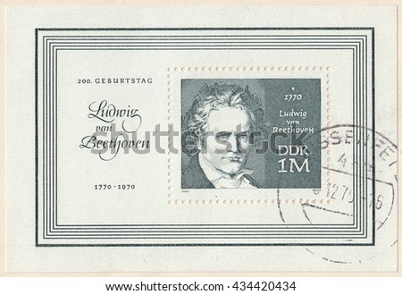 GERMANY - CIRCA 1970: A stamp printed by Germany, shows Ludwig van Beethoven was a German composer,conductor and pianist.The 200th anniversary of the birth, circa 1970 - stock photo