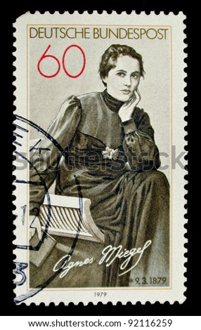 GERMANY - CIRCA 1979: A stamp printed by Germany shows portrait of Agnes Miegel, circa 1979