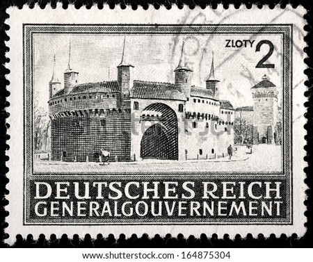 GERMANY - CIRCA 1941: A stamp printed by GERMANY shows view of Barbican of Krakow (Cracow), circa 1941 - stock photo