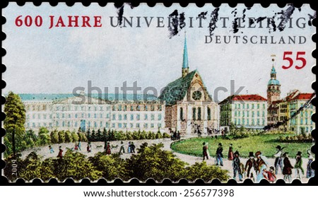 GERMANY - CIRCA 2009: A stamp printed by GERMANY shows view of Leipzig University. University located in Leipzig in Free State of Saxony, is one of the oldest universities in the world, circa 2009 - stock photo