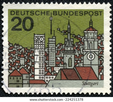 GERMANY -CIRCA 1964: A stamp printed in Federal Republic of Germany shows graphic of Stuttgart, circa 1964. Stuttgart is the capital of the state of Baden-Wurttemberg in southern Germany. - stock photo