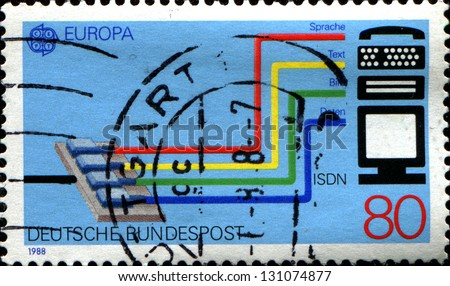 GERMANY - CIRCA 1988: A stamp printed in German Federal Republic dedicated to Transport and communication, shows the Integrated Services Digital Network (ISDN) system, circa 1988