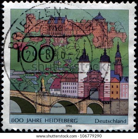 GERMANY - CIRCA 1996: A stamp printed in German Federal Republic honoring 8000 anniversary of Heidelberg, circa 1996 - stock photo