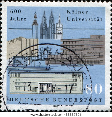 GERMANY - CIRCA 1980: A stamp printed in German Federal Republic honoring 600th Anniversary of Cologne University, shows University Buildings and City Landmarks, circa 1980