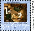 "GERMANY - CIRCA 2009: A stamp printed in German Federal Republic shows draw ""The Poor Poet"" by Carl Spitzwegi, circa 2009 - stock photo"