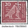 GERMANY - CIRCA 1960: A stamp printed in Germany, dedicated to 37th Eucharistic World Congress, Munich, depicted Dove, Chalice and Crucifix, circa 1960 - stock photo