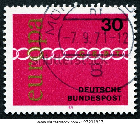 "GERMANY - CIRCA 1971: A stamp printed in Germany from the ""Europa"" issue shows Europa Chain, circa 1971."