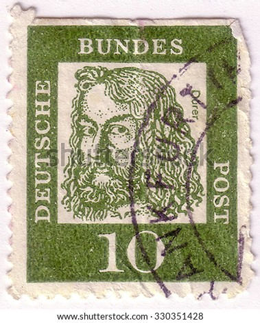"""GERMANY - CIRCA 1961: A stamp printed in Germany from the """"Famous Germans"""" issue shows German composer Ludwig van Beethoven, circa 1961.  - stock photo"""