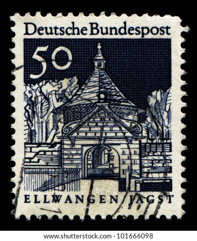 "GERMANY - CIRCA 1966: A stamp printed in Germany from the ""Historic Buildings"" issue showing Castle Gate, Ellwangen, circa 1966."