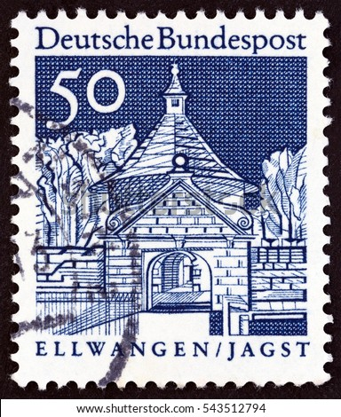 "GERMANY - CIRCA 1966: A stamp printed in Germany from the ""Historic Buildings"" issue shows Castle Gate, Ellwangen, circa 1966."
