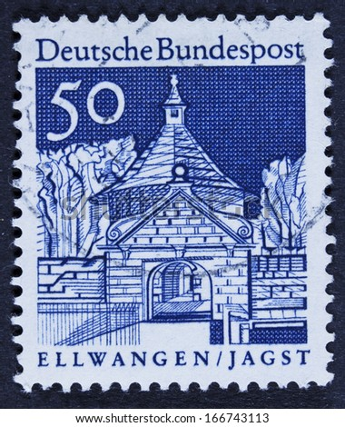 GERMANY - CIRCA 1966 A stamp printed in Germany from the Historic Buildings issue shows Castle Gate, Ellwangen, circa 1966.