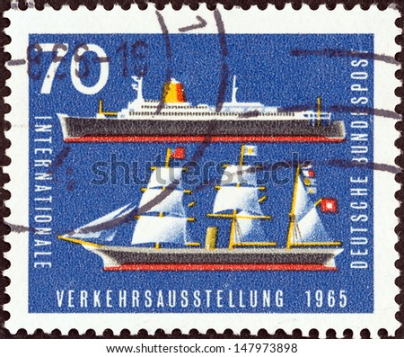 """GERMANY - CIRCA 1965: A stamp printed in Germany from the """"International Transport Exhibition, Munich"""" issue shows Bremen (liner) and Hammonia (19th-century steamship), circa 1965.  - stock photo"""