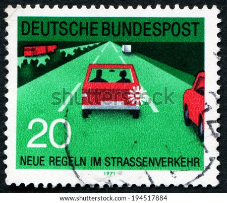 "GERMANY - CIRCA 1971: A stamp printed in Germany from the ""New Road Traffic Regulations (2nd series)"" issue shows lane discipline, circa 1971."