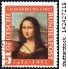 GERMANY - CIRCA 1952: A stamp printed in Germany issued for the 500th birth anniversary of Leonardo da Vinci shows Mona Lisa, circa 1952. - stock photo