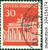 GERMANY - CIRCA 1966: A stamp printed in Germany showing Brandenburg Gate, Berlin, circa 1966. - stock photo