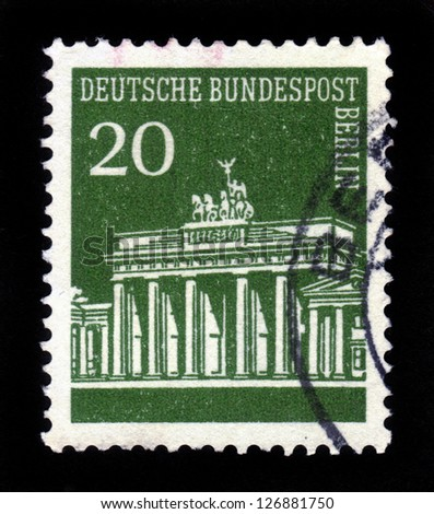 GERMANY - CIRCA 1966: A stamp printed in Germany showing Brandenburg Gate, Berlin, green, series, circa 1966.