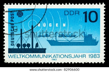 GERMANY - CIRCA 1983: A stamp printed in Germany showing communication, circa 1983 - stock photo