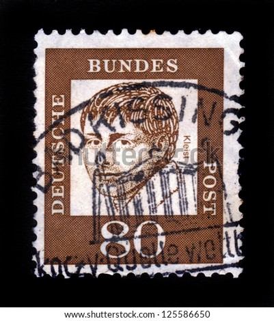 GERMANY - CIRCA 1961: A stamp printed in Germany  showing Heinrich von Kleist, poet and dramatist, series famous germans, circa 1961.