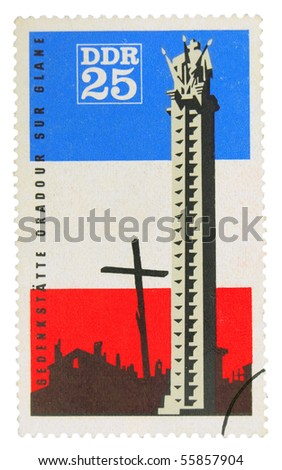 GERMANY - CIRCA 1960: A stamp printed in Germany showing memorable place in Oradour sur Glane, circa 1960