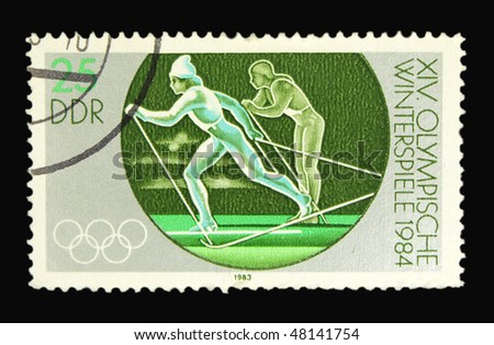 GERMANY - CIRCA 1983: A stamp printed in Germany showing olympic games circa 1983