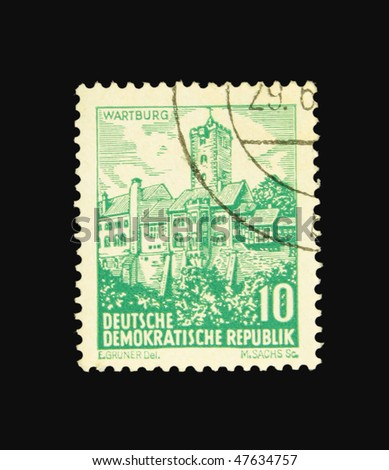 GERMANY - CIRCA 1955: A stamp printed in Germany showing Wartburg circa 1955