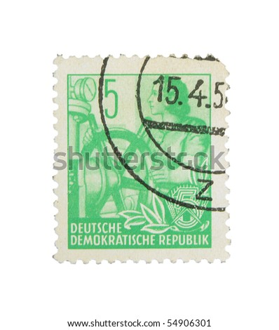 GERMANY - CIRCA 1956: A stamp printed in Germany showing woman with rudder, circa 1956