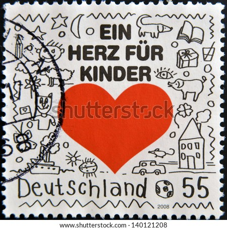 GERMANY - CIRCA 2008: A stamp printed in Germany shows a heart for children, circa 2008 - stock photo
