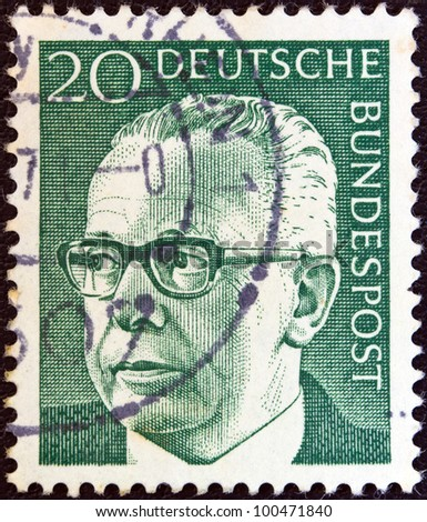 GERMANY - CIRCA 1971: A stamp printed in Germany shows a portrait of Federal President Gustav Heinemann, circa 1971.