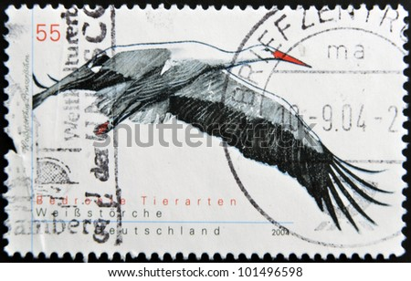 GERMANY - CIRCA 2004: A stamp printed in Germany shows  a white stork, circa 2004