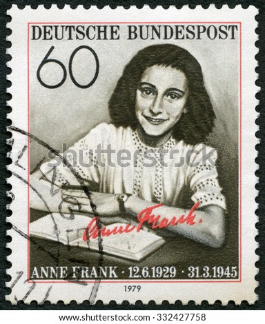GERMANY - CIRCA 1979: A stamp printed in Germany shows Annelies Marie Anne Frank (1929-1945), circa 1979 - stock photo