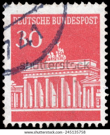 GERMANY - CIRCA 1966 A stamp printed in Germany shows Brandenburg Gate, Berlin, circa 1966.