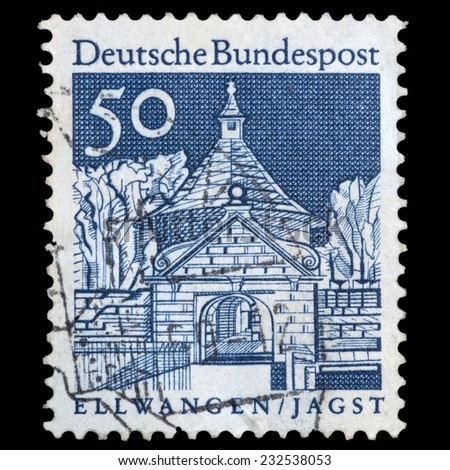 GERMANY - CIRCA 1966: A stamp printed in Germany shows Castle Gate, Ellwangen, circa 1966