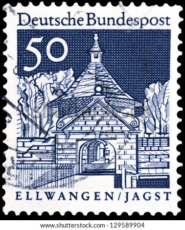 "GERMANY - CIRCA 1966: A stamp printed in Germany shows Castle Gate,Ellwangen, with the same inscription, from the series ""Historic Buildings"", circa 1966"