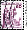 "GERMANY - CIRCA 1977: A stamp printed in Germany shows Castle in Neuschwanstein, with the same inscription, from the series ""German Castles"", circa 1977 - stock photo"