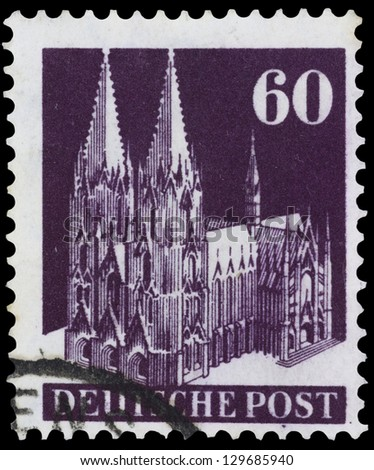 "GERMANY - CIRCA 1948: A stamp printed in Germany shows Cologne Cathedral, without inscription, from the series ""Cologne Cathedral"", circa 1948"